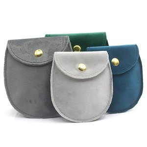 Free Shipping New High-end Jewelry Packaging Bag Ring Necklace Bracelet Snap Button Flannel Bag Gray Green Blue Round Jewelry Bag