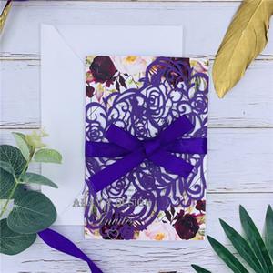 Unique Purple Bloom - laser cut wedding invitations With Bowtie, Elegant floral Laser Cut Card, Free Shipping