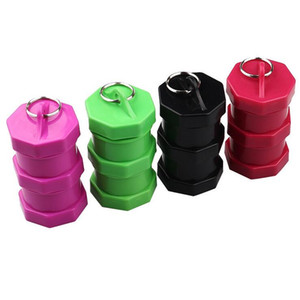 Newest Plastic Pill Case Tobacco Cigarette Cans Box Stash Storage Container 3 Layers 4 colors High Quality 43*81mm