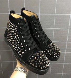 Luxury Black Red Suede + Mix Spikes Red Bottoms Sneakers Scarpe per uomo Casual Donna Uomo, Outdoor Designer Scarpe con scatola, Sacchetto per la polvere