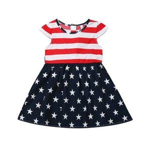 Лето Baby Girl сарафан партии День независимости национальный флаг платья с коротким рукавом полоса бантом платье возраст 2-7 Т