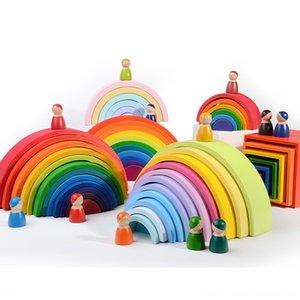 DROPSHIPPIN 12шт радуги деревянные строительные блоки для Kid Радуга Строительные блоки Монтессори учебного деревянная игрушка
