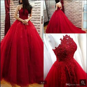 Princesse Red Prom Bonbon 16 robes de bal 2020 Perles Dentelle Jewel Keyhole Retour étage Longueur Quincenaera Robe De Vestidos Novia Soirée
