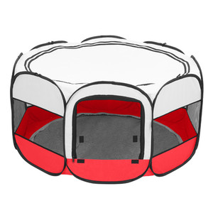 45inch Pet Puppy Soft Tent Portable Foldable 600D Oxford Cloth Mesh Pet Playpen Fence with Eight Panels Dog Cat Crate US Stock