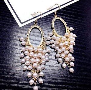 2pair / lotes moda de gama alta cristal de diamante perla producto cae earings de la señora