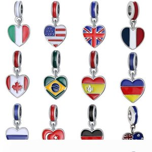Necklace Bracelet Pendant Lady Fashion Women Alloy Oil Drip 3D World National Flag Printed Pendant Holiday Party Gift WY265Q