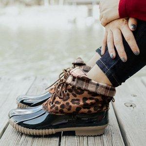 Shujin Leopard сапоги для женщин сапог Lady Duck Загрузочных водонепроницаемых женщин дождь сапоги Узелок лодыжка обувь Рождество зима Женской обуви