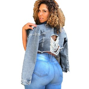 Kadınlar Ceket Moda Delik Kasetli Jean Ceket Casual Uzun Kollu Doğal Renk Ceketler Kadın Giyim Ripped
