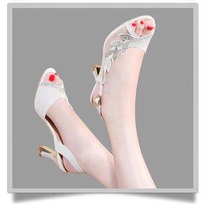 2020 New Plus Silver Rhinestone Shoes Fashion Luxury Designer Women High Heels Wedding Sandals Come With Box Size 35-40