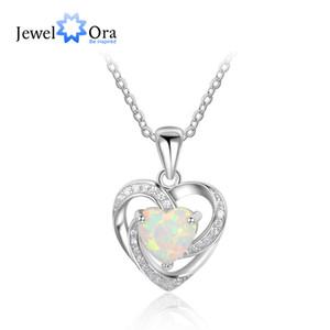 2017 Nueva Mujer Romántica 925 Sterling SilverOpal NecklacePendants Heart Design Mejor Regalo de la Joyería de Las Mujeres JewelOra NE101927