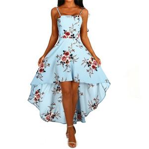 Seksi Çiçek Baskılı Backless Elbise Spagetti Askı Boyun A Hattı Asimetrik Elbise Kulübü Party Dresses Slash