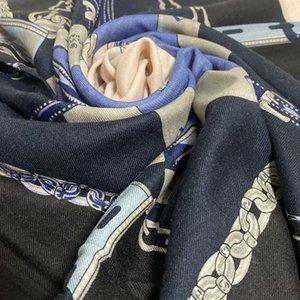 Toptan-Yeni marka tasarım siyah renkli kaliteli% 100 kadınlar için malzeme ince ve yumuşak baskı uzun eşarplar kaşmir büyük beden 190cm -90cm