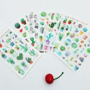 6 teile / satz Nette Grüne Kaktuspflanze Planer Aufkleber Scrapbooking Kawaii DIY Dekoration Stick Label Aufkleber Kugel Journal Aufkleber