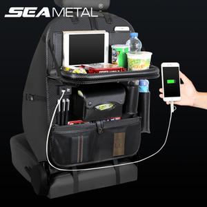 Заднее сиденье сумка организатор автомобиля 4 USB углеродного волокна искусственная кожа хранения сетки путешествия укладка уборка универсальный авто интерьер аксессуары