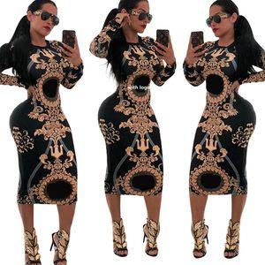 Kadınlar Günlük O-boyun Baskı Uzun Kollu BODYCON Parti Uzun Elbise Bayanlar Seksi Çizgili Clubwear Elbise