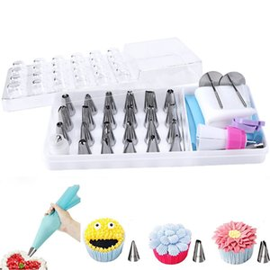 35pcs Cake Decorating Tips Sets Supplies Dessert Decorator Cake Tools Kits Stainless Steel Baking Supplies Icing Tips with Pastry Bag