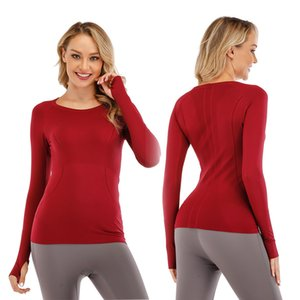LU bayanlar spor uzun kollu çabuk kuruyan zindeliği çalışan rahat kazak yuvarlak boyun çabuk kuruyan tişört yoga kıyafetleri kadın sıkı