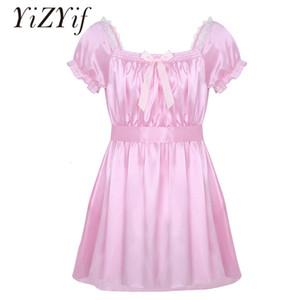YiZYiF Männer Sissy Nachtwäsche Sexy Unterwäsche-Quadrat-Ausschnitt Glänzende weiche Satin High Low Design-Crossdress Wäsche-Kleid mit Schärpe V191213