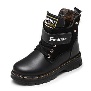 Crianças Botas de Outono E Inverno Escola de Couro Sapatos Menino Moda Nas Botas de Neve de bezerro De Pelúcia Quente À Prova D 'Água Crianças Martin Botas Y190525