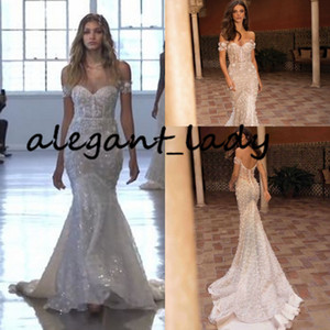 Sparkly Luxury Berta Wedding Dresses 2020 Off Shoulder Sweetheart Lace Sequins Mermaid Casual Garden Beach Wedding Gown