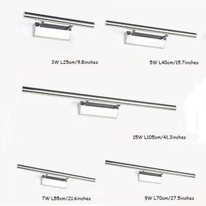 110 V 220 V Modern Paslanmaz Çelik LED Ön Ayna Işık Banyo Makyaj Duvar Lambaları LED Vanity Tuvalet Duvarı Monte Aplikler Aydınlatma Armatürü