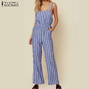 Summer Fashion Striped Jumpsuit ZANZEA Women Sleeveless Wide Leg Rompers Casual Cotton Party Pants Playsuits Female Overalls