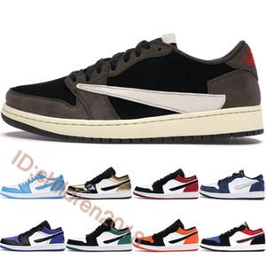 Трэвис Скотт 1 Низкая Баскетбольная Обувь Мужчины Женщины Кроссовки Royal Gold Toe Sail University Топ 3 UNC Mystic Зеленые Кроссовки Размер 36-46