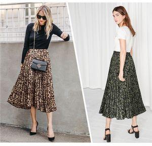 Leopard Half Pleated Womens Summer Designer Skirt Elastic Waist Mid Calf Womens Dresses 2Colors Size M 5XL