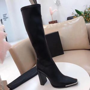 Moda Çizmeler Yeni Seksi Yüksek Topuklu Deri Süet Elastik Çizmeler Ağır Topuk Metal Kadın Ayakkabı Fermuar Süet Yüksek Çizmeler Büyük Boy 35-41