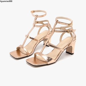 2020 Summer Sandals Women New Sexy Light-faced Fine Horizontal Straps High-heeled Open-toed Sandals Roman Foreign Trade Women's Shoes