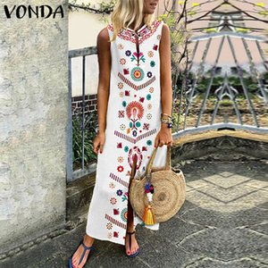 VONDA Bohême Femmes Floral Robe d'été imprimée Party 2019 Casual manches longues robes de Split Hem Kaftan Vestidos Plus Size T5190606