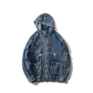 Мужские куртки Мода Casaul Ripped синий карманный дизайн Омывается джинсовой ретро капюшоном куртки High Street Streetwear M-XXL