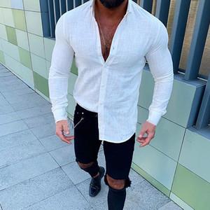 Erkek Gömlek Yeni Erkekler Slim Fit Keten gömlek Erkek Seksi V Boyun Keten gömlek Effen Renk Uzun Mouw gömlek M -3XL keten Tops