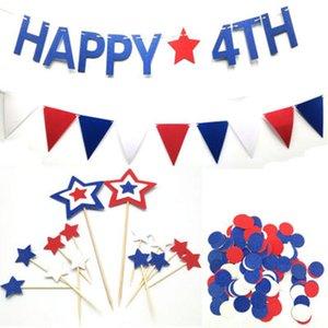 Party Decoration Fishtail Flag Bandiera americana Independence National Day USA 4 luglio Colore stelle cerchietti coriandoli Happy 4th Pull Flag