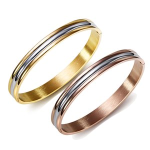 No change color 316L Stainless steel Rose gold and Gold 2 tone color Delicate Cuff Bangles for women