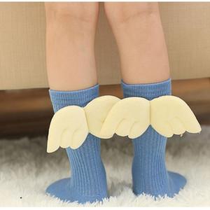 Baby-Strumpf Angel Wings Socke Frühlings-Herbst-Baumwollkind-Hoch Mädchen Beinwärmer Kinder fußabnutzung Strick Lange Strümpfe