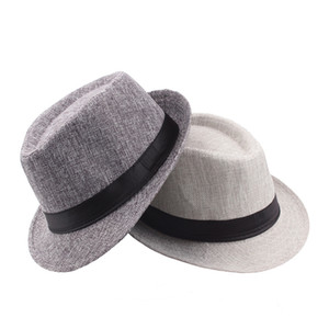 Custom fedora linen beach sun hat with black band New fashion Outdoor activities Men top hat