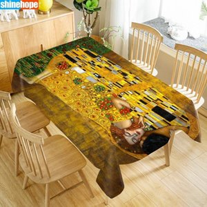 Customize Tablecloth The Kiss Gustav Klimt Oxford Cloth Dust-proof Rectangular Table Cover For Party Home Decor Y200421