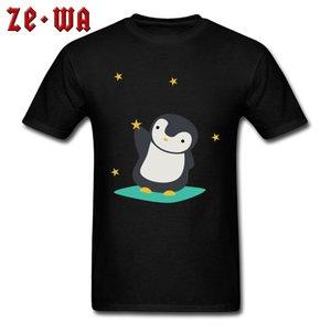 T-shirt Hommes Cadeau T-shirt Mignon Kawaii Mens Tees Penguin Attrapant Étoiles Jeune TShirts Société Personnalisé De Dessin Animé Vêtements Noir Tops
