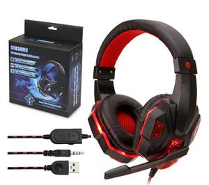 Cabo fichas de 3,5 mm USB LED fone de ouvido fones de ouvido com fio fone de ouvido com microfone para computador Sony PS4 PlayStation com pacote de varejo