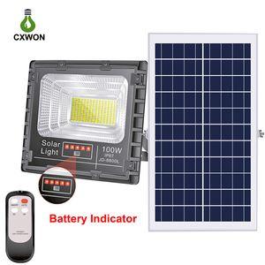 Aggiornato Solar Powered Spotlight proiettore 100W 200W 300W Solar alluminio impermeabile Garden Street lampada da parete esterna solare del LED con telecomando