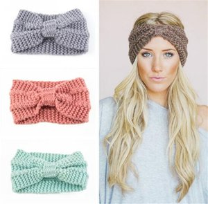 Inverno quentes Ear malha Headband Turban Por Lady Mulheres Crochet Bow larga faixa contínua Hairband Headwrap Acessórios de cabelo T511