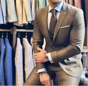 Abiti da sera di alta qualità per la sera del 2017 Abiti da uomo Slim Fit Risvolto con risvolto Prom Padre Tailored Made Groomsmen Blazer (Jacket + Pants) Busines Attire