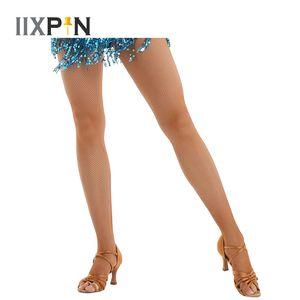 Medias de red de baile latino profesionales Calcetines de red con entrepierna Ropa de danza latina Pantyhose de talle alto Medias Medias
