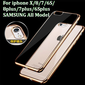 1000pcs Ultra thin Luxury Rose Gold Plating Bumper Transparent TPU Case Coque For Samsung iphone huawei All Model optional