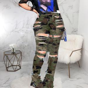 alargamento camuflagem calça jeans de cintura alta fêmeas cutJeans inicialização com um waistl apertado Denim rasgado Jean Mulher Plus Size # g5