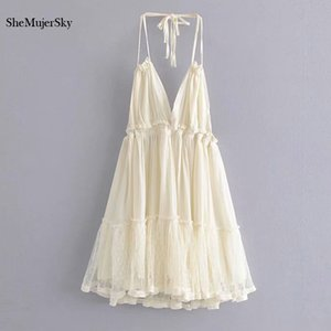 SheMujerSky Sexy Backless Lace Spliced Dress Summer Halter V-neck Mini Dresses Woman Dress Elegant Evening T200614