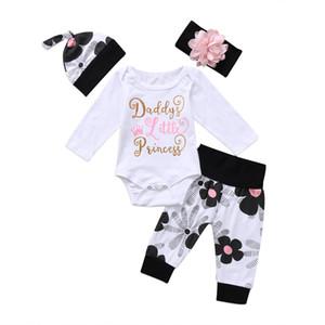 EU estoque criança criança roupas recém-nascido bebê menina roupa de flor jumpsuit de manga longa carta bodyit + calças de faixa de cabeça