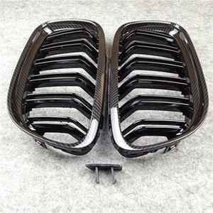 2 pièces Dual Line Glossy M Color Colle Carbon Look Catégorie 2008-2011 pour 3 Série E90 ABS Matériau Black Mesh Noire Grille