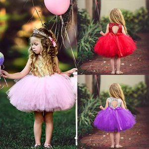 Sequined Sleeveless Baby Girl Clothes 2-6 Years Children Party Princess Vestidos Tulle Tutu Ball Gown Kids Dresses for Girls